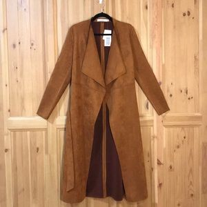 Just Fab Faux Suede Trench
